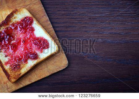 Toasted Toast With Raspberry Jam