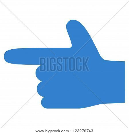 Hand Pointer Left vector icon. Style is flat icon symbol, cobalt color, white background.