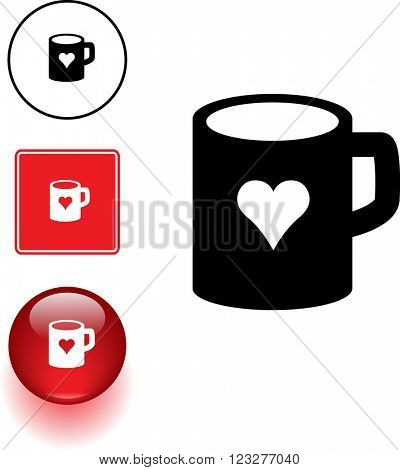mug with heart symbol sign and button