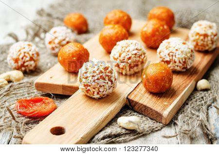raw vegan cashew dried apricots coconut balls