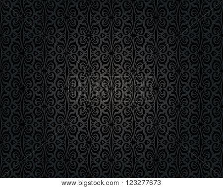 black vintage background repetitive decorative pattern design