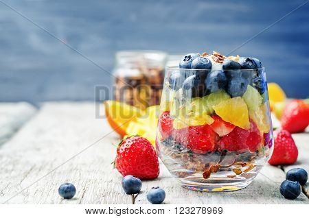 rainbow fruit granola and Greek yogurt parfait