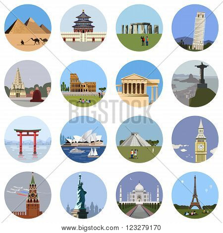 World landmarks flat icon set. Vector travel app web site monument sign. Egypt pyramid, Temple, Stonehenge Colosseum Italy Pantheon sydney theater statue of liberty Taj Mahal eiffel tower Pisa Big Ban