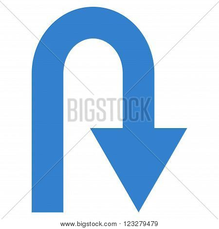 U Turn vector icon. Style is flat icon symbol, cobalt color, white background.