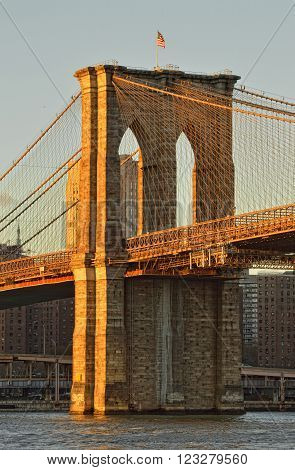 View of the Brooklyn Bridge at sunset.