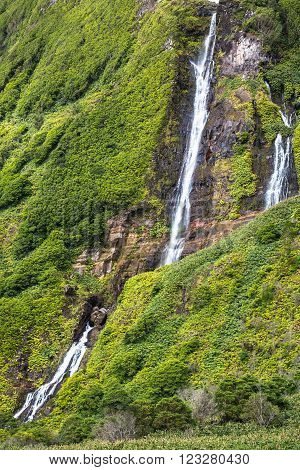 Azores landscape with waterfalls and cliffs in Flores island. Portugal.