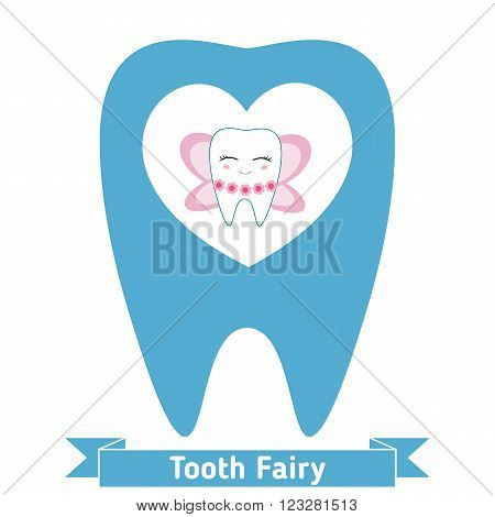 Little cute tooth fairy on white background. Cartoon character.