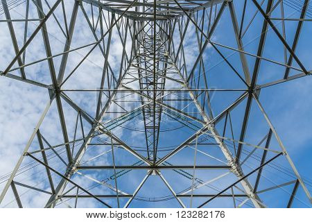 Symmetrically bottom view of electricity pylon against a blue sky background