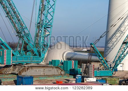 Dutch construction site for building new wind turbines. The propeller is ready to be installed.