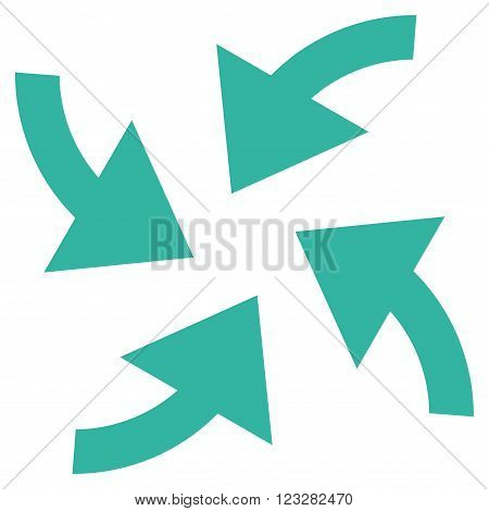 Cyclone Arrows vector icon. Style is flat icon symbol, cyan color, white background.