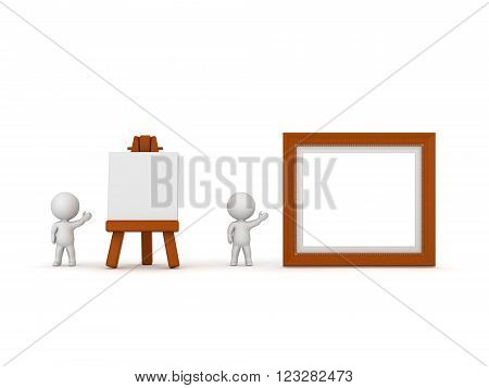 Small 3D characters showing an artsy easel and a painting frame. Isolated on white background.