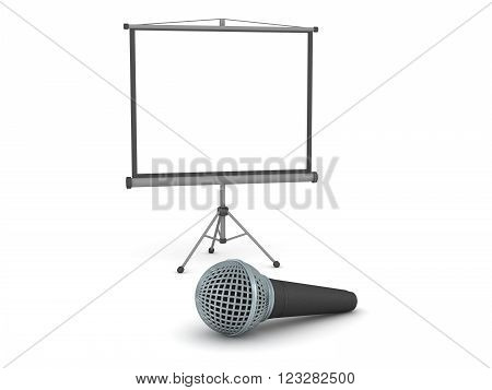A 3D projector screen and a large microphone. Isolated on white background.