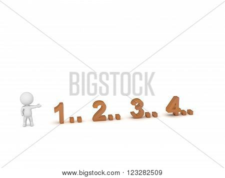 3D character showing the numbers 1 2 3 4. Isolated on white background.