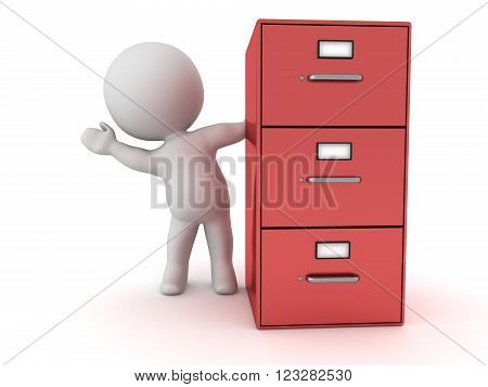 3D character waving from behind a red archiving cabinet. Isolated on white background.