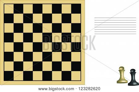 chess board and pawn, chess figure, card