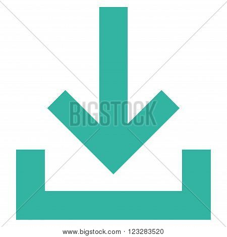 Inbox vector icon. Style is flat icon symbol, cyan color, white background.