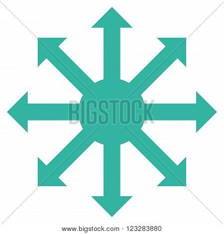 Radial Arrows vector icon. Style is flat icon symbol, cyan color, white background.