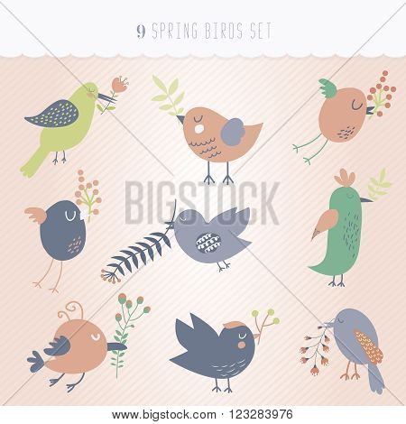 Set of nine cute birds hanging spring flowers
