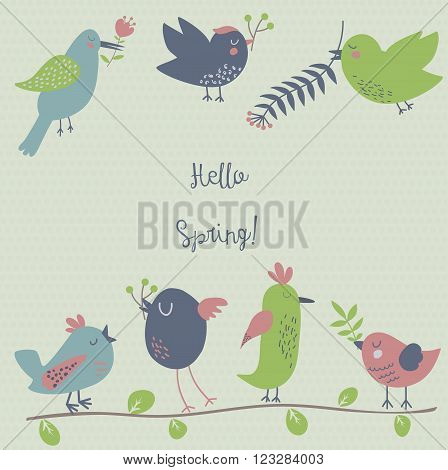 Retro styled spring illustration with seven cute birds hanging spring flowers