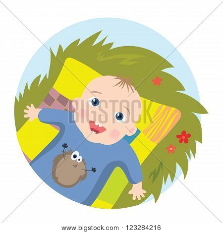 Vector Illustration cartoon of happy baby lying on a blanket
