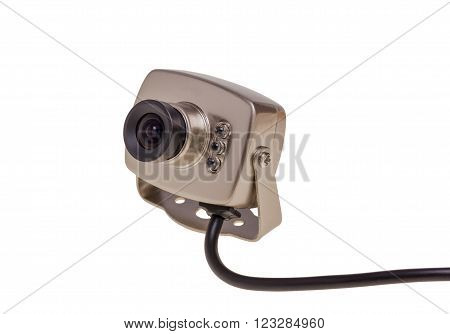 Internal security surveillance camera with night vision LED backlight isolated on white background