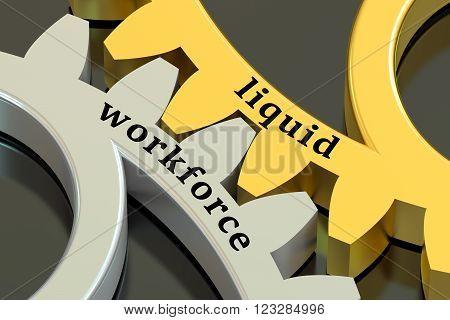 Liquid Workforce concept on the gearwheels 3D rendering