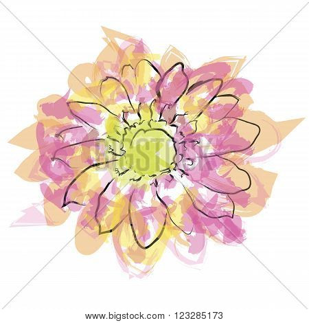 Watercolor flower vector format. Abstract watercolour flowers.