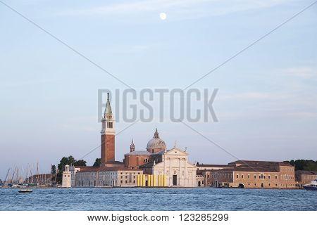 Island San Giorgio Maggiore in Venice in twilight