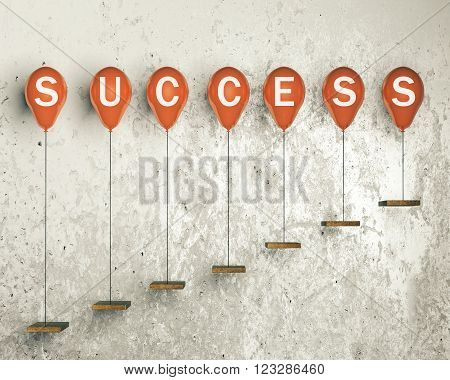 Success concept with red balloons tied to ledges on concrete wall. 3D Render