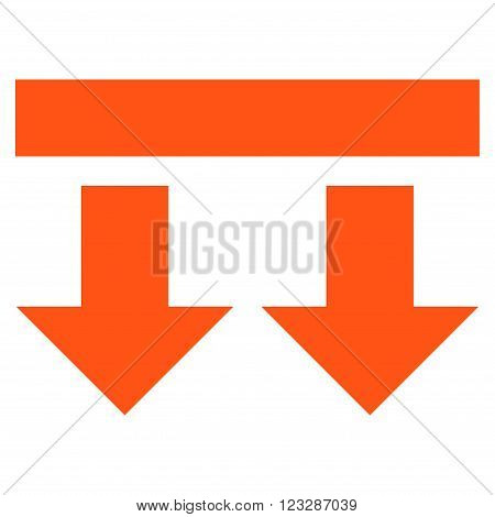 Bring Down vector icon. Style is flat icon symbol, orange color, white background.
