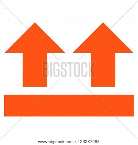 Bring Up vector icon. Style is flat icon symbol, orange color, white background.