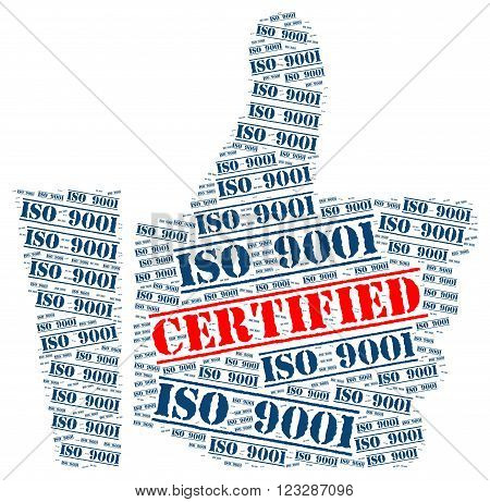 ISO 9001 certified illustration with a white background