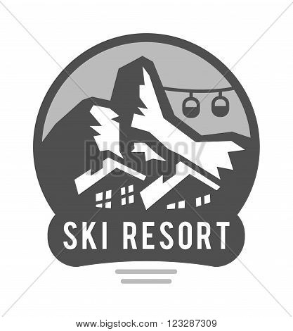 Outdoor logo mountains sun, ski poles and mountains outdoor logo expedition camp. Vector wilderness and nature exploration outdoor logo vintage emblems mountains, sun, ski poles silhouettes elements.