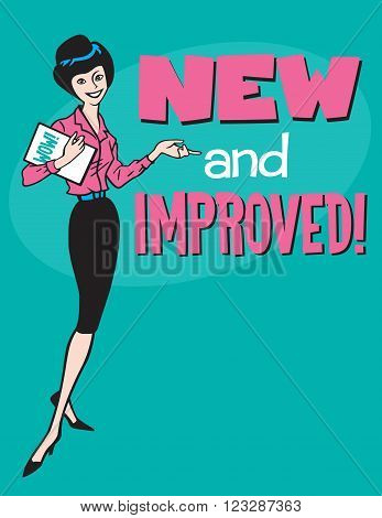 New and Improved retro design. Vintage style vector design with cartoon woman and the phrase New and Improved.