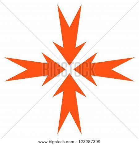 Compression Arrows vector icon. Style is flat icon symbol, orange color, white background.