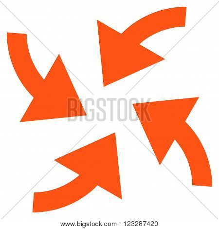 Cyclone Arrows vector icon. Style is flat icon symbol, orange color, white background.