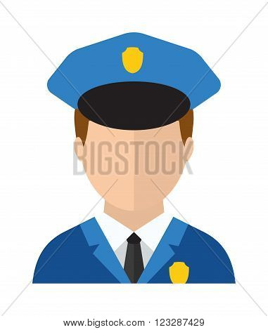 Trendy policeman uniform character icon flat style and crime protection police man avatar suit cap. Professional policeman protection. Police man officer avatar in suit and cap vector illustration.