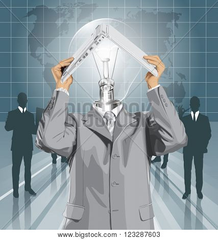 Vector lamp head business man travel, hides under the laptop in his hands