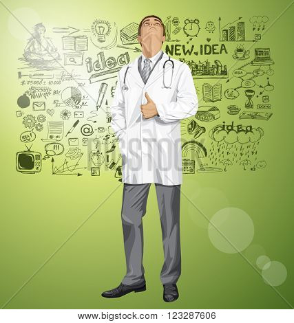 Vector doctor man with stethoscope shows well done, looking up, looking for idea,