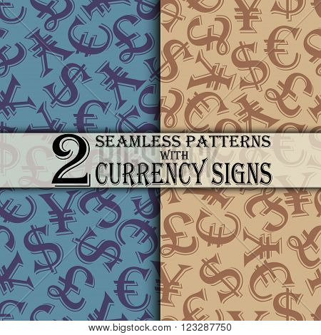 Set of seamless pattern with currency signs, dollar pound euro yuan, money signs background, vector