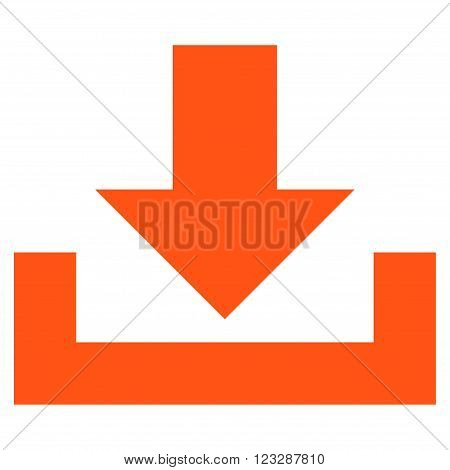 Downloads vector icon. Style is flat icon symbol, orange color, white background.