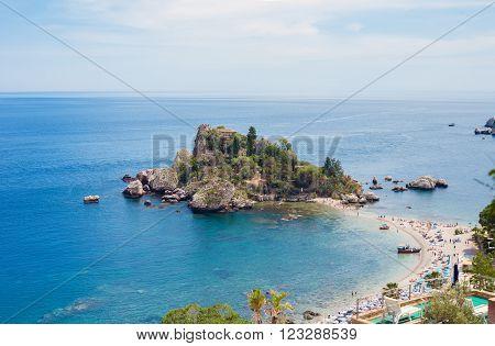 The Famous Isola Bella island in Taormina