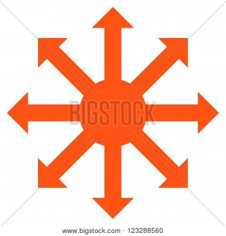 Radial Arrows vector icon. Style is flat icon symbol, orange color, white background.