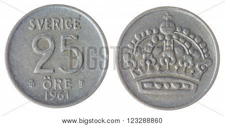 25 Ore 1961 Coin Isolated On White Background, Sweden