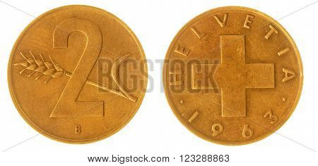 2 Rappen 1963 Coin Isolated On White Background, Switzerland