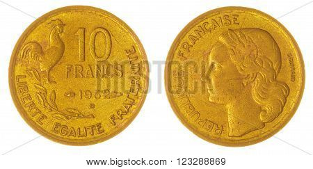 10 Francs 1952 Coin Isolated On White Background, France