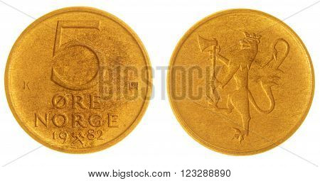 5 Ore 1982 Coin Isolated On White Background, Norway
