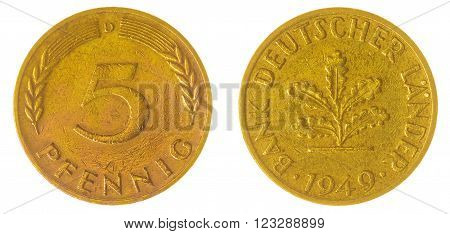 5 Pfennig 1949 Coin Isolated On White Background, West Germany