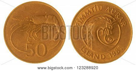 50 Aurar 1981 Coin Isolated On White Background, Iceland