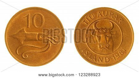10 Aurar 1981 Coin Isolated On White Background, Iceland